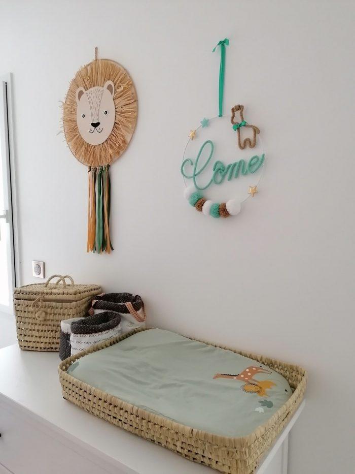 décoration de chambre d'enfant plaque décorative girafe thème savane,