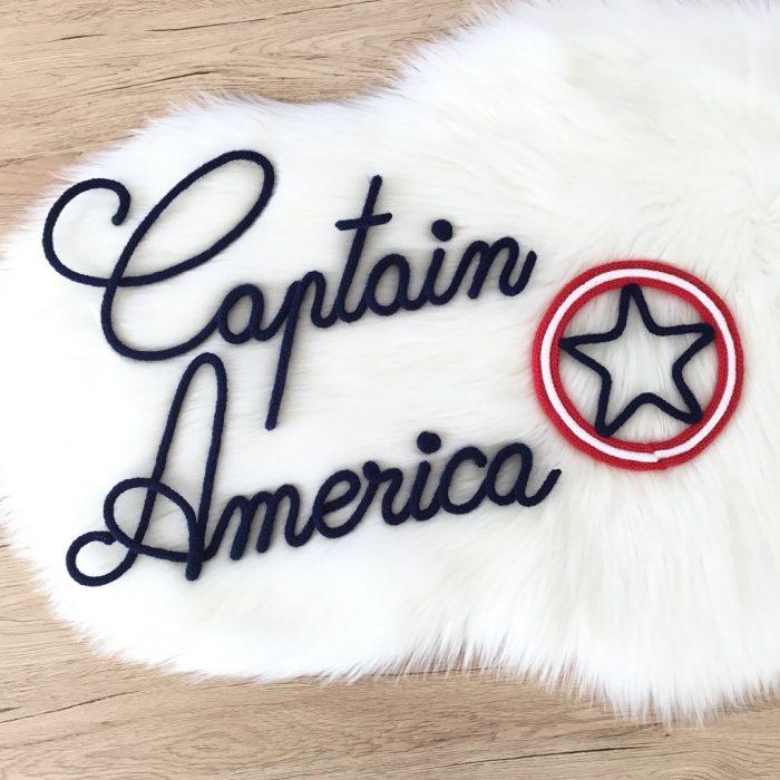 captain america en tricotin décoration chambre enfant
